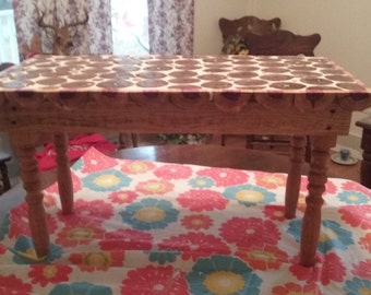 Coffee table made from wood slices