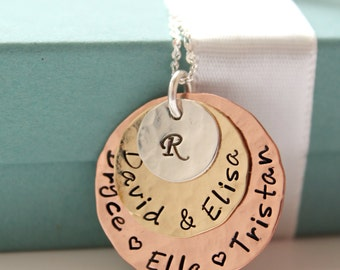 Personalized Family Necklace - Family Name Jewelry - Personalized Mothers Necklace - Mommy Necklace - Personalized Mothers Gift - Mom Gift