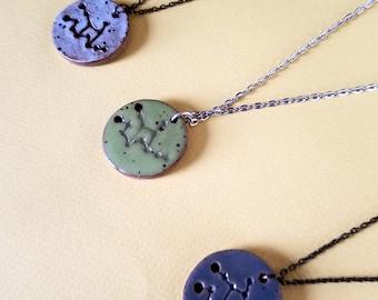 Virgo Constellation Necklace – Round Ceramic Pendant Necklace, Zodiac Jewelry, Constellation Jewelry