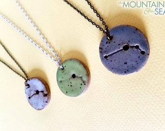 Aries Constellation Necklace – Round Ceramic Pendant Necklace, Zodiac Jewelry, Constellation Jewelry