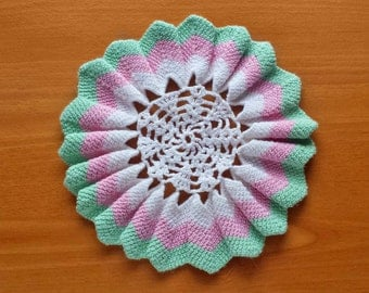 Colorful Ruffled Edge Crochet Doily, White Vintage Doily with Pink and Light Green Border,  7 inch Doily