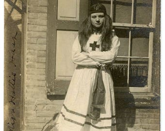 "Rare Antique Photograph ""The Red Cross Girl"" Long Hair Teen Young Woman Native Costume Arms Crossed Pose Black & White Vintage Photo - 28"