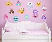 12 Large Girl Emoji Wall Decal Poop Emoji Troll Cat Emojis Peel and Stick Repositionable