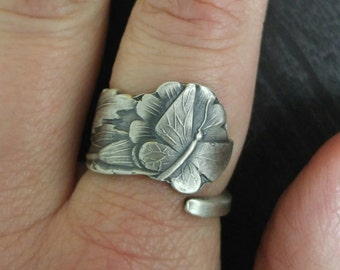 Danity Butterfly Ring, Sterling Silver Spoon Ring, Fultterby Ring, Floral Insect Ring, Handmade Gift, Petite Ring, Custom Ring Size (V312)