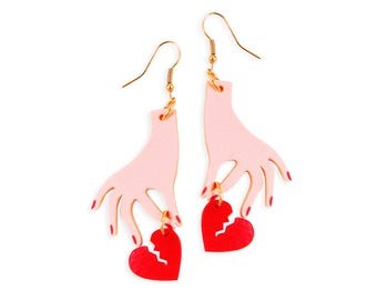 Hand with Broken Heart Earrings - Heartbreaker Heartbroken Pink Red Weird Kitsch Kitschy Gold Kawaii Cute Harajuku Retro Perspex Acrylic