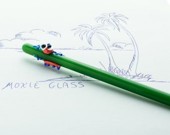 Coral and Deep Blue Gecko on Jade Glass Writing Pen- FREE Gift Box- Blue Ink Pen