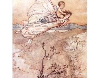 Peter Pan Magnet - Fairy Fridge Magnet - Repro Arthur Rackham - Vintage Style