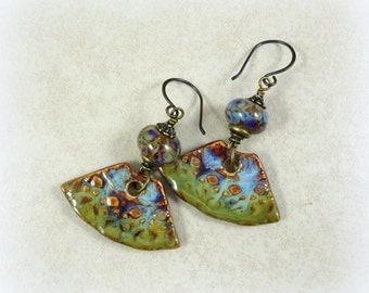 Rustic Ceramic Fan Earrings - Artisan Handmade Ceramic Charms with Lampwork Beads - Artisan, Boho, Rustic Elegance, Purple, Blue and Green