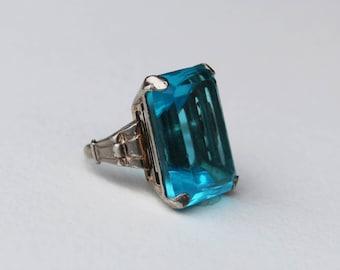 Huge Vintage Art Deco Era Aqua Blue Glass Sterling Silver Ring Size 5.5