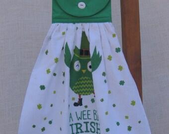 """St Patricks Hanging Kitchen Towel, Irish Kitchen Hand Towel, """"A Wee Bit Irish"""", St. Pats Day, Hanging Dish Towel, Owl Shamrock Towel"""