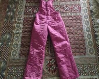 Vintage 80s 90s Ski Bunny Snowsuit Bib Overalls Rose Pink Jumpsuit