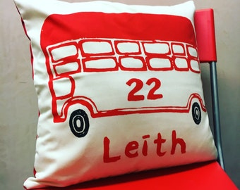 Leith 22 Bus Cushion - Screenprinted cushion with my illustration of the number 22 bus