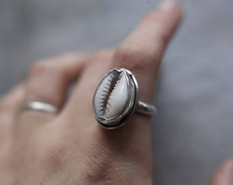 Cowrie Shell Ring, Cowrie Shell Jewelry, Shell Ring, Sterling Silver Ring, Bohemian Jewelry, Boho Jewelry, Statement Ring, Personalised