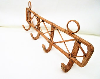 Vintage Wicker Wall Rack | Coat Rack | Hat Hooks | Rattan Rack