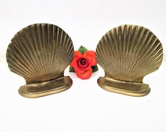 Vintage Brass Shell Bookends | Sea Shell Art | Brass Book Ends | Nautical Decor