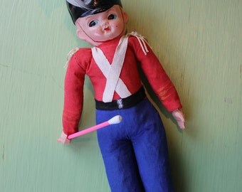 Vintage Celluloid English Soldier Doll, Made in Japan