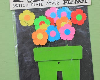 Groovy Vintage Paper Flowers, Japan, Switch Plate Cover, Flower Power, MIP and 3D