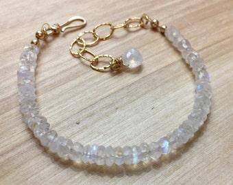 Moonstone Bracelet, Rainbow Moonstone Bracelet, Simple Moonstone Bracelet, White Moonstone Gemstone, June Birthstone, Delicate Bracelet