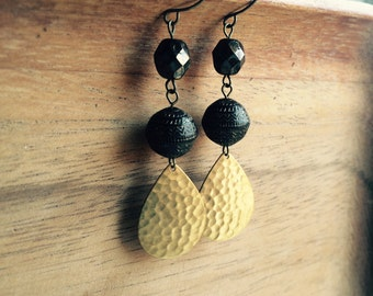 Hammered Teardrop Earrings // Boho Earrings, Gold Earrings, Dangle Earrings, Winter Jewelry, Brown Earrings