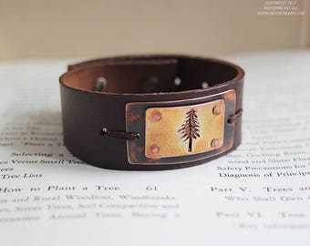 Leather Bracelet with Redwood Tree Silhouette.