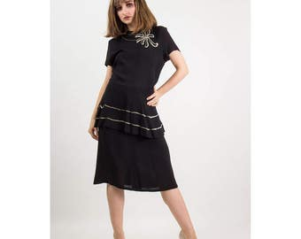 1940s dress / Vintage black rayon peplum dress / Silver sequin trim M L