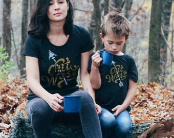 Out West Matching Adult Ladies T-shirt & Toddler T-shirt Set. Mother daughter son, mom child, matching sibling gift, west coast