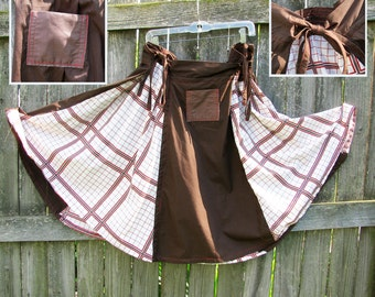 Adjustable panel skirt - RedGrid Brown - repurposed fabrics with side ties and pockets.  Size Medium.