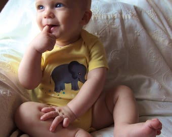 Baby Elephant Organic Cotton Hand Painted Baby Bodysuit  Unique Shower Gift Safari Baby Clothes