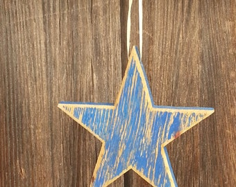 "5"" Rustic wood star Ornament/gift decoration  BLUE #541"