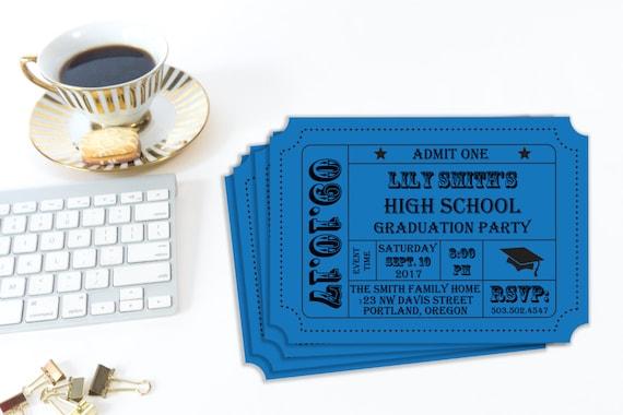 Graduation Party, Printable Invitation, Admission Ticket, Ticket Stub, High School Grad, College Graduation, Graduate, Editable Invitation