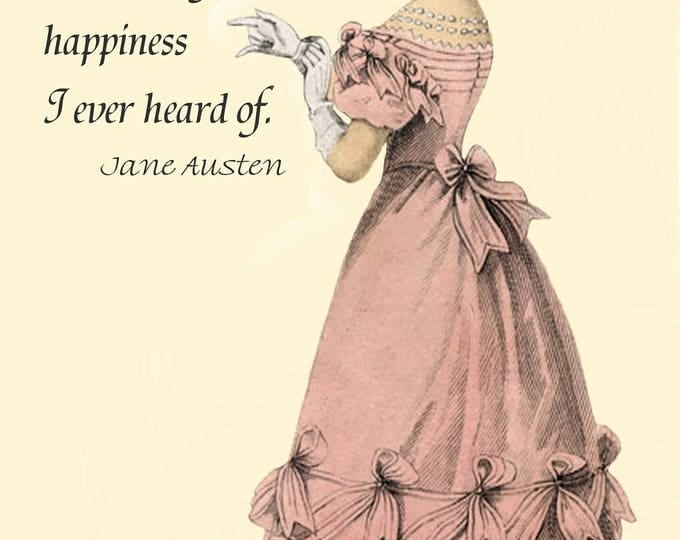 "Jane Austen Quotes. A Large Income Is The Best Recipe For Happiness I Ever Heard Of. 4""x6"" Postcard. Jane Austen Card. Jane Austen Clothing."