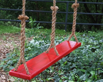 Two-Person Wooden Tree Swing, Triple Rope