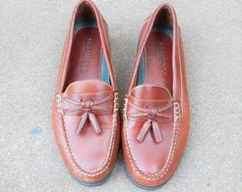 Vintage Womens 5 GH Bass and Company Slip On Tassel Loafers Loafer Oxfords Classic Preppy Dress Shoes Boho Student Hipster Spring Fashion