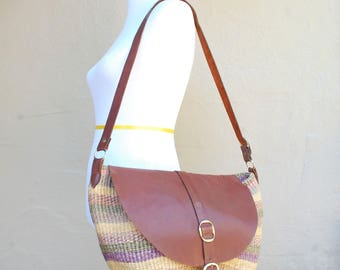 Vintage Purse Tote Handbag Shoulder Bag Satchel Hobo Boho Hippie Native Sisal Fibers Leather Colorful African Gypsy Handbag Ethnic Kenyan
