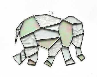 Elephant Stained Glass Suncatcher, Geometric Art, Geometric Stained Glass, Crystal Elephant