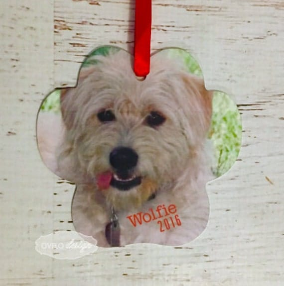 Dog or Cat Custom Paw Print Pet Personalized Picture Ornament