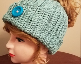 Seafoam Color Messy Bun Hat. Super soft, for teens or adults - Ready to be Shipped