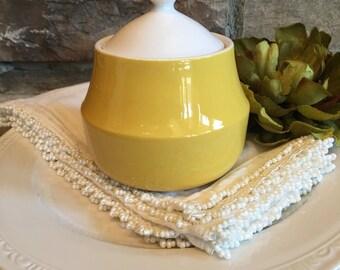 Vintage Mikasa Flora D1300 Sugar Bowl Yellow & White Cera Stone - #A2152