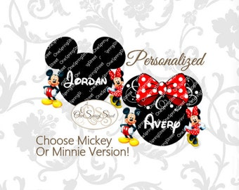 Disney Mickey Minnie Printable Iron On Transfer Personalized Disneyland Disney world diy matching family vacation disney shirt digital #1830