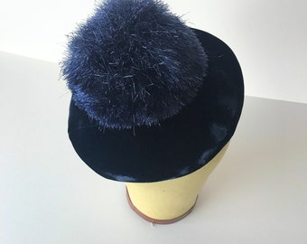Blue Velvet Pompom Hat / 50's / winter accessories / ice skating cap navy
