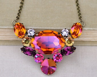 NEW Swarovski Astral Pink Summer Blush Cluster Pendant,Purple Pink Orange Bright Crystal Necklace,Rhinestone Necklace,Unique,Layering,Bib