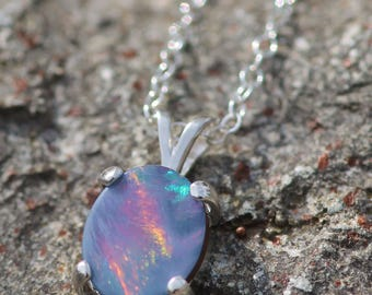 STUNNING Genuine Boulder Opal Doublet Necklace,Sterling Silver,Colorful Australian Opal Pendant,Petite Gemstone Necklace,Birthstone,OOAK