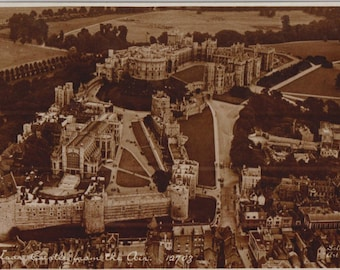 Windsor castle from the air - Antique postcard - Vintage - art sheen style - photo - sepia - printed in England - Free shipping Canada USA