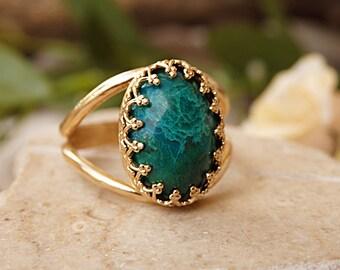 Green gemstone ring, Israeli rings, Spiritual stone, Eilat stone ring, Unique stone ring, Mineral ring,Gold gem ring, Jewish ring, Gift idea