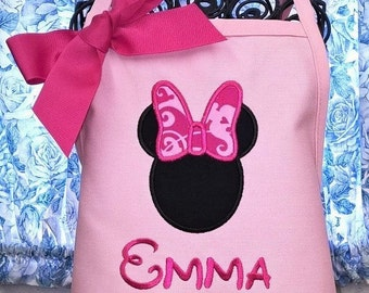 Personalized Apron Child Apron Minnie Mouse Disney Inspired