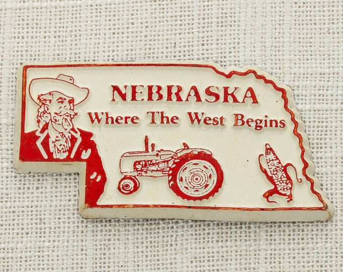 "Nebraska Vintage State Magnet Silhouette ""Where The West Begins"" Travel Tourism Summer Vacation Memento 