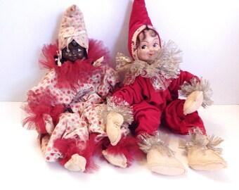 Vintage Pixie Doll - Pixie Girls - Vintage Elf Dolls - Black White Elf - Vintage Christmas