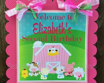 Pink Barn Farm Party Sign, Farm Door Sign, Farm Birthday, Baby Shower, Welcome Sign, Door Sign, Photo Prop, Farm Animals, Country Farm Party