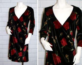 Vtg 90s MODA Black Velvet Rose Print Cross Over V Neck Dress / Size Large