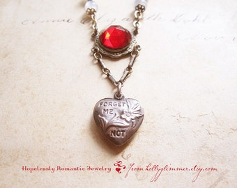 Valentine Heart Assemblage Necklace / Vintage Forget Me Not Jewelry / Romantic Gift / OOAK